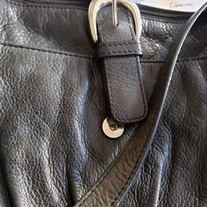 B Collection - Black Leather Crossbody Adjustable